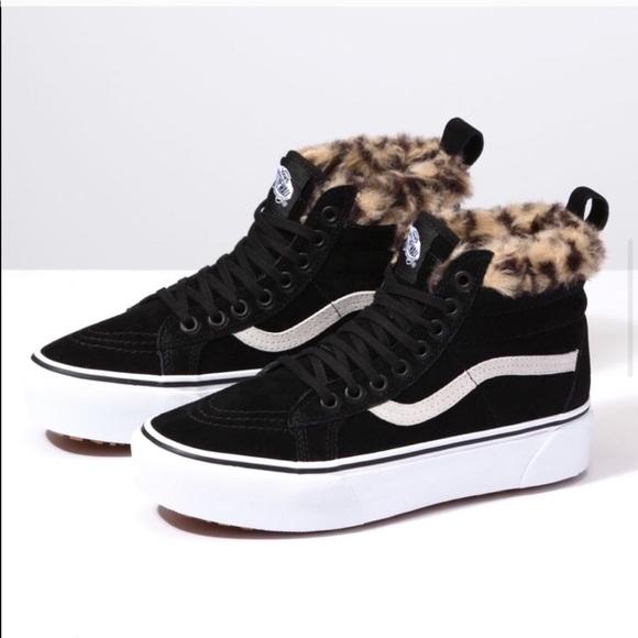 Nwt Vans Skate Platform Mte Fur Leopard